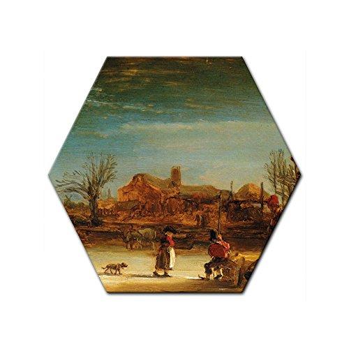 Wandbild Rembrandt Winterlandschaft - 60 cm Sechseck - Alte Meister Berühmte Gemälde Leinwandbild Kunstdruck Bild auf Leinwand
