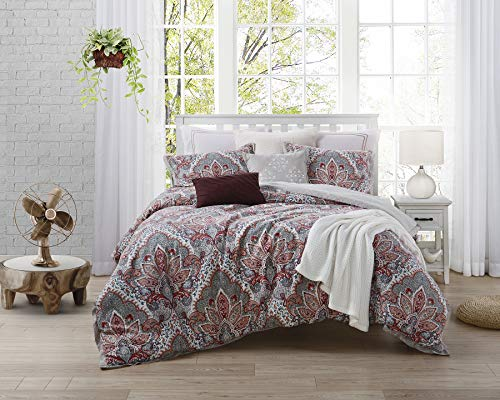Ellen Tracy 100% Print Cotton Duvet & Shams 3-pc Bedding Set, Luxurious, Comfortable, Breathable, Soft and Durable, with Button Closure - Upton Park, King
