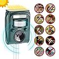Izbie Ultrasonic Squirrel, Deer, Bird Repellent - Waterproof Effective Outdoor Electronic Deterrent for Rodent, Mouse, Cat, Dog, Snake, Raccoon, Mole, Pest Repeller Control