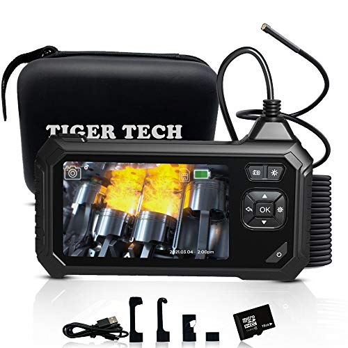TIGER TECH Industrial Endoscope Inspection Camera, 4.3 inch LCD 1080P HD Screen Borescope,(16.5FT)...