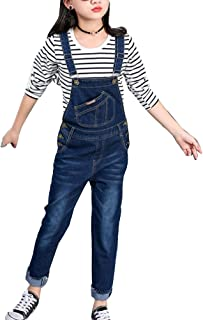 LaoZanA Jeans para Niñas Mono Vaquero Pantalones De Peto De Mezclilla Overalls