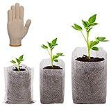 200 Pezzi Non Tessuti Borse vivaio, ANSUG Sacchetti Biodegradabili in Tessuto Non Tessuto per piante con i guanti per Vivaio di Piante, Fiori, Verdure, Germinazione, 3 taglie
