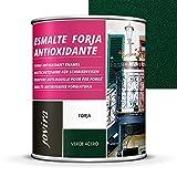 ESMALTE FORJA ANTIOXIDANTE, protección y decoración sobre acero. (750 ml- 1,3 kg, VERDE)