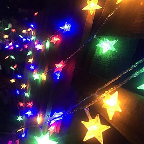día de St Patricks 80 LED Guirnaldas Luces Exterior,33ft Impermeable Navidad Cadena de Luces,Estrellas Luces de Hadas Decoración para Jardin Fiesta Casa Bodas (multicolor)