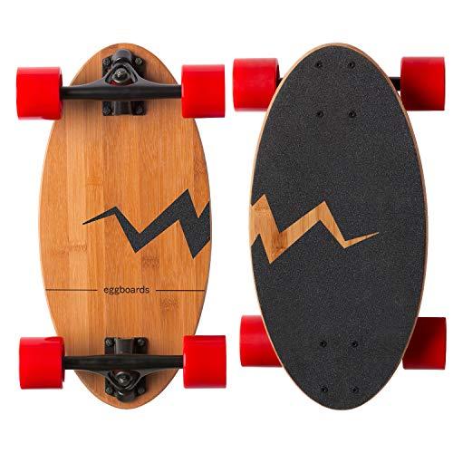 Eggboards Mini Longboard Cruiser Skateboard - Wide Small Bamboo Skateboards Ride Like Longboards. Complete Longboard for Adults and Kids. 19 inches Long Skate Board Deck in Wood.