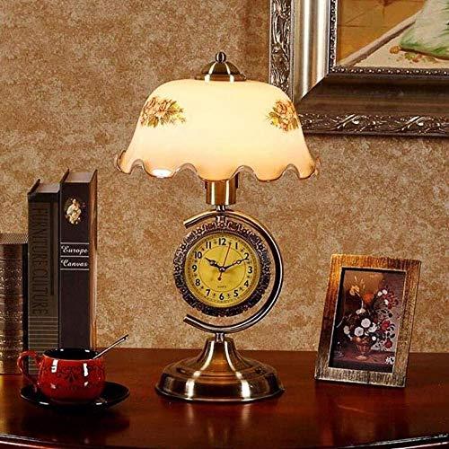 SHENLIJUAN Retro Cama del Reloj del Moderno cabecera del Dormitorio de la decoración del Dormitorio del Hotel Hardware Lámparas de Mesa 27 * 44cm (Color : Push Button)