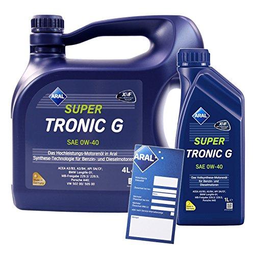 1 L + 4 L = 5 Liter Aral SuperTronic G 0W-40 Motor-Öl inkl. Ölwechsel-Anhänger