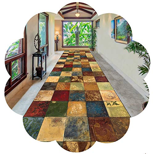 YANGJUN-Alfombra de pasillo Largo Antideslizante Suave Insípido Lavable Cuadrado Sencillo, Adecuado for Casa Habitación Hotel, Cortable Personalizable (Color : A, Size : 1x3m)