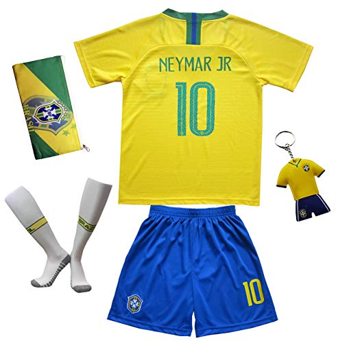 KID BOX Brazil No 10 Kids Home Soccer Jerseys/Shorts Socks Gift Set Youth Sizes (Home Yellow, 7-8 Years)