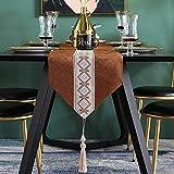 LIZHAIMING Runner da tavola, Nuovo Stile Cinese Blue Blended Tavolo corridori e cassettiera Sciarpe con Nappa, per Tavolo da Pranzo Banchetto Eventi Decorazione di Nozze,B,30x200cm