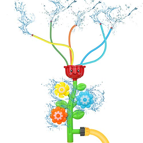 Water Sprinkler for Kids Water Toys Splash Flower Spray Toy for Fun Summer Lawn Backyard Yard Games Outside Outdoor Toys Girls Boys Kindergarten Preschoolers Gift Aged 3 4 5 6 7 8 9 10 Year Old