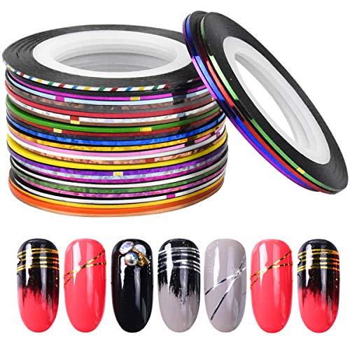 32 Colores Mezclados Rollos Línea de Cinta de Rayas de Uñas, Uñas Arte Rayas Adhesivas, Nail Art Striping Tape Line, Clavo Arte Cinta Decoración Pegatinas para Diseño Arte de Uñas