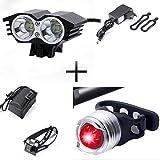 XMH Faro de Bicicleta, Luz Bicicleta Delantera Led Foco Luces Bicicleta 2 led 5000 LM Impermeable 4 Modos con luz Trasera para Alpinismo, Ciclismo, Camping (2 led Black)