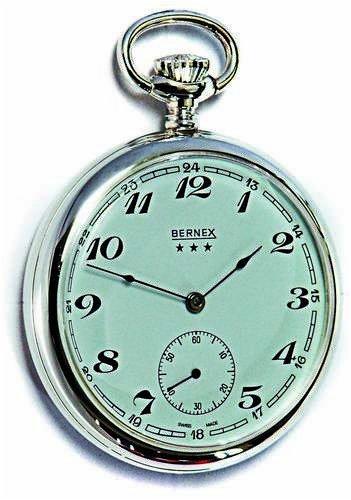Bernex Reloj de Bolsillo mecánico de Plata de Ley Maciza con Cara Abierta