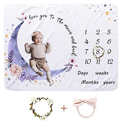 CBOO Manta Mensual de Hito para Bebé Recién Nacido Unisex Suave Manta Mensual de Bebé para Fotográfico, Regalos Personalizados para Futuras Mamás (Luna: 130cm *100cm)