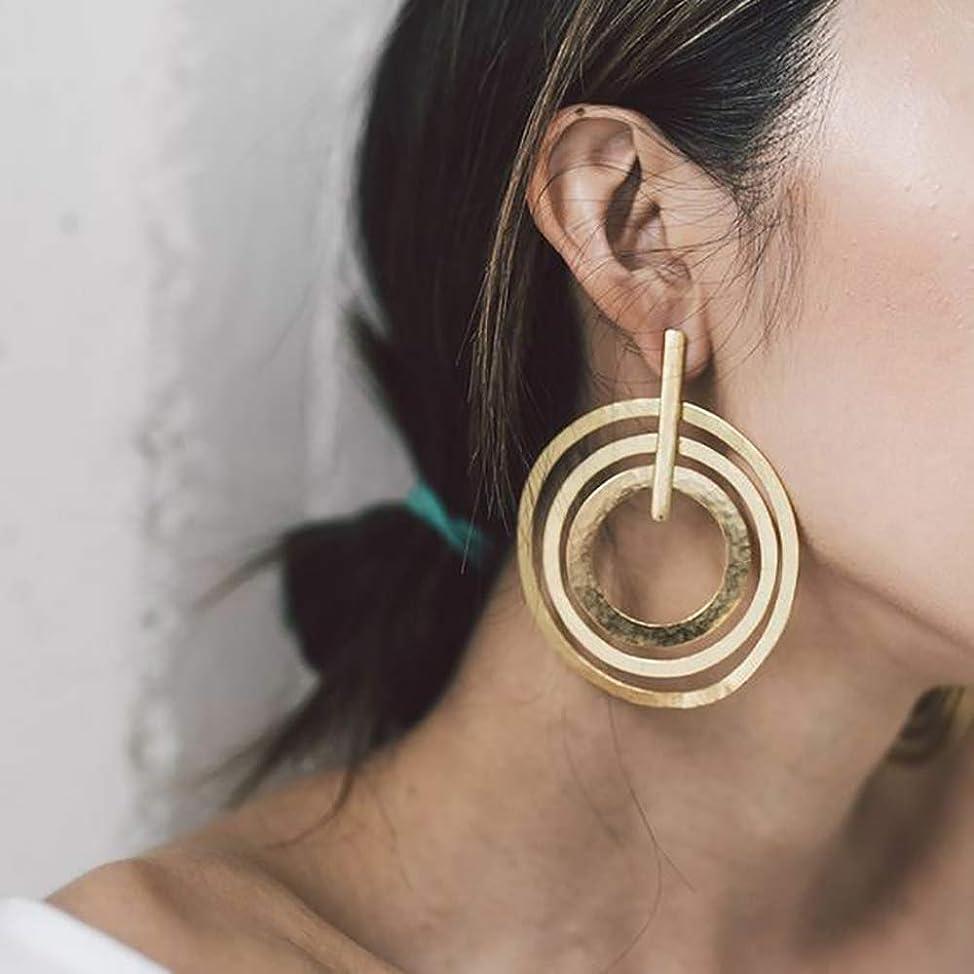 Doubnine Large Circle Hoops Boho Multi Loop Gold Silver Geometric Earrings Women Girls Jewelry Gift (gold) lxkhkzre623