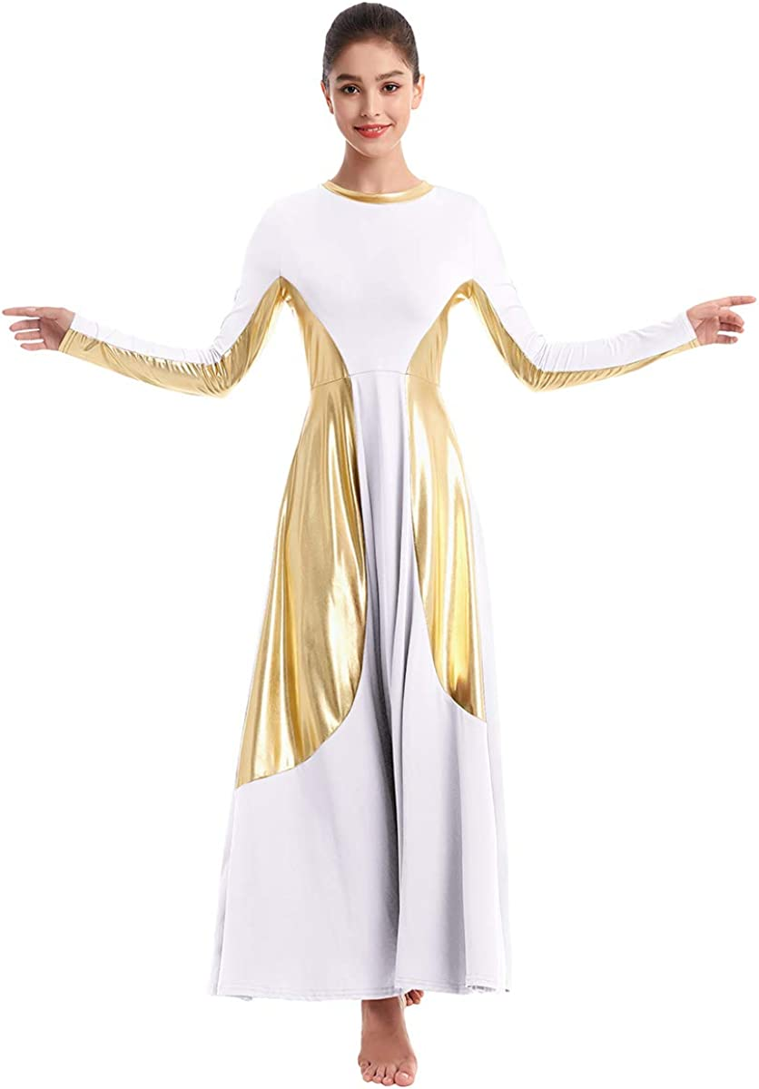 IMEKIS Women Metallic Gold Praise Dance Dress Color Block Belt Long Sleeve Liturgical Worship Costume Church Robe Praisewear