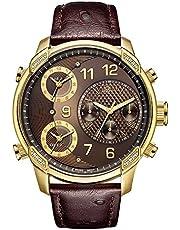 ساعة من جيه بي دبليو للرجال باصدار محدود، جي 4 19 بالالماس، تبرز ثلاث مناطق زمنية، جلد نعام مزخرف