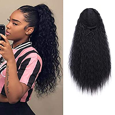 22 Inch Drawstring Ponytail Extension Curly Wave Long Ponytail Hair Extension Synthetic Corn Wavy Drawstring Ponytail Extensions Hair Pieces for Women