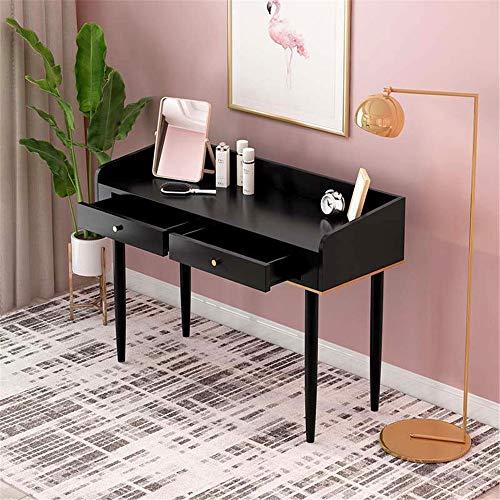Ouuager-Home Schminktische Luxuxschlafzimmer Multifunktionsraum Frisierkommode Minimalist Massivholz-Tisch Dressing (Color : Black, Size : 80x40cm)