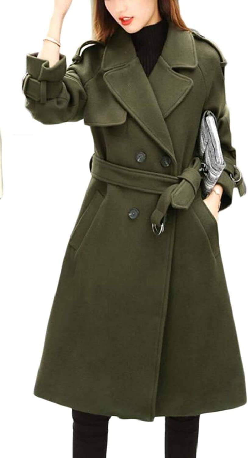 TDCACA Women Pea Casual with Belt Mid Long Double Breasted Woolen Trench Coat