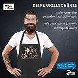 MoonWorks Grill-Schürze für Männer mit Spruch Der Herr des Grills Grillkönig schwarz Unisize - 4