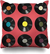 Ahawoso Throw Pillow Cover Square 18x18 Inches Vinyl Dj Party Records Blank Turntable Colorful Labels On Pink Vintage Textures Collection Record Decorative Pillowcase Home Decor Cushion Pillow Case