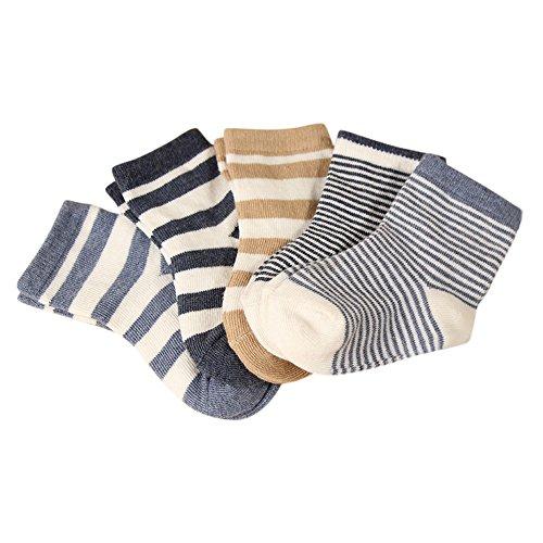 YASSON Lot de 5 Chaussettes Garçon Bébé en Coton à Rayure Casual Doux Respirant Socquette Bambin Enfant 5 pièces 1-3 Ans