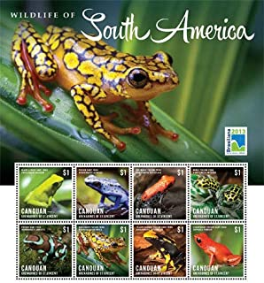 2013 Frogs - Wildlife of South America, Collectible Sheet of 9 Stamps, Mint Never Hinged
