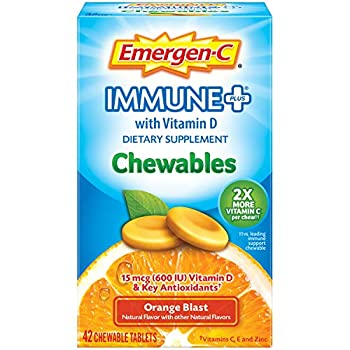Emergen-C Immune+ Chewables 1000mg Vitamin C with Vitamin D Tablet Immune Support Dietary Supplement for Immunity Blast Flavor - Multi Orange 42 Count  Pack of 1