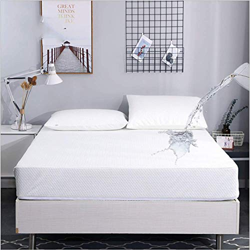LRQY Waterproof Mattress Cover Bamboo Microfiber Mattress Protector Hypoallergenic Anti-Mite Sheet Bed Bug Proof Cover, 30Cm Deep Skirt,120 * 200cm