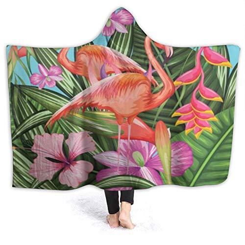 HARXISE Tragbare Hoodie Decke,Illustration des Flamingos mit tropischem Garten...
