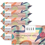 ELLE MAKEUP REMOVER WIPES, FACE AND EYES, 25CT, 6 PACKS, TOTAL 150 WIPES