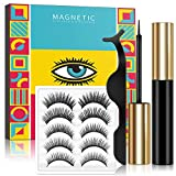 Lorchar Magnetic Eyelashes with Eyeliner, Magnetic Eyelashes and Magnetic Eyeliner Kit, Magnetic Eyelash with Applicator, 5 Pairs, Natural Looking Magnetic Eyelashes, No Glue Needed