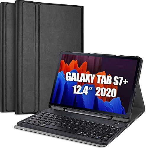 Claelech - Custodia per tastiera per Samsung Galaxy Tab S7 Plus, con supporto per penna a S, tastiera Bluetooth rimovibile senza fili per Galaxy Tab S7 Plus da 12,4 , colore: Nero