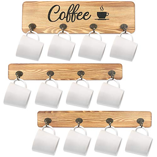 LotFancy Coffee Mug Holder Rustic Wall Mounted Mug Rack with 12 Cup Hangers Farmhouse Wood Cup Organizer for Home Office Kitchen Display Storage Collection Coffee Nook Décor