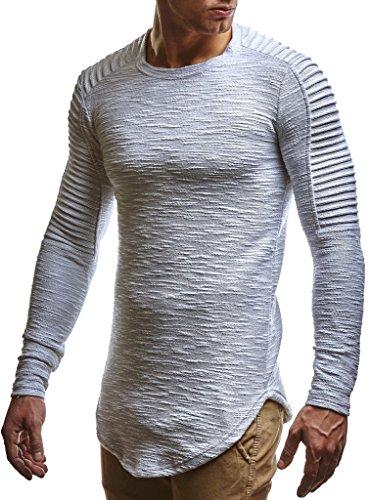 Leif Nelson Herren Pullover Rundhals-Ausschnitt Schwarzer Männer Longsleeve dünner Pulli Sweatshirt Langarmshirt Crew Neck Jungen Hoodie T-Shirt Langarm Oversize LN6326 Grau Large