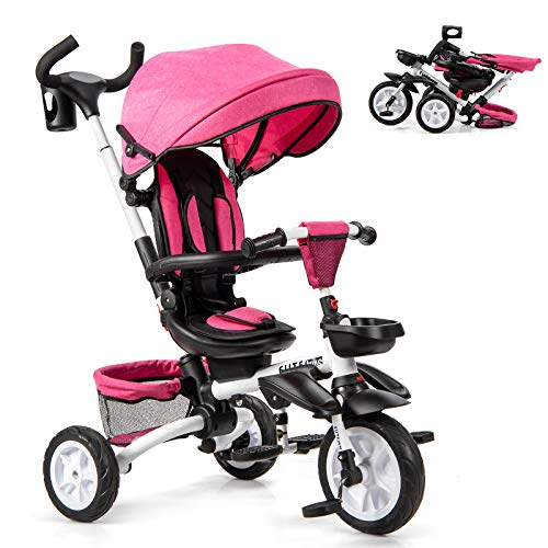 Baby Joy Baby Tricycle, 7-in-1 Kids Folding Steer Stroller w/Rotatable Seat, Adjustable Canopy, Safety Harness, Cup Holder, Push Handle, Storage Bag, Toddler Tricycle Trike for 1-5 Year Old (Pink)