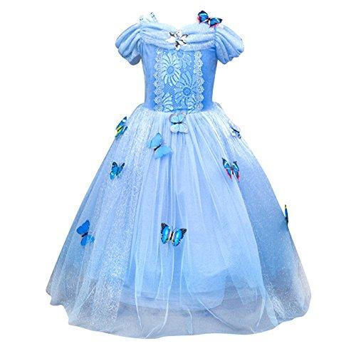 Le SSara Weihnachtsmädchen Prinzessin Cosplay Kostüm Fancy Schmetterling Kleid (120, blue)