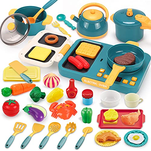 KaeKid Cooking Toys for Kids, Pretend Play Kitchen Accessories Cookware Toy with Electronic Induction Cooktop Set, Cutting Play Food Dishes Utensils, Gifts for Toddlers Boys Girls 3 4 5 6 Years Old