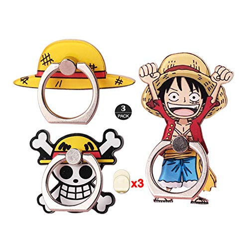 ZOEAST(TM) 3pcs Phone Ring Grip Straw Hat Pirate King Skull Flag Universal 360° Adjustable Holder Car Desk Hook Stand Stent Kickstand Compatible with iPhone X 12 MAX Plus iPad Tablet (3 Pack Luffy)