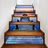 Pegatina de pared adhesiva para escaleras con puentes de agua, distintiva cocina 3D para el hogar