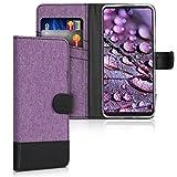 kwmobile Wallet Hülle kompatibel mit Huawei P30 Lite - Hülle Kunstleder mit Kartenfächern Stand in Violett Schwarz