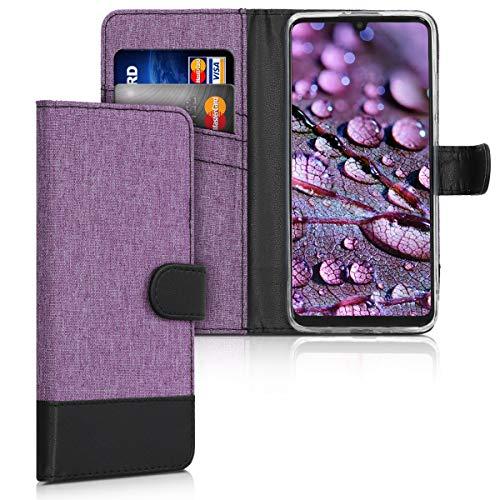 kwmobile Funda Compatible con Huawei P30 Lite - Carcasa de Tela y Cuero sintético Tarjetero Violeta/Negro