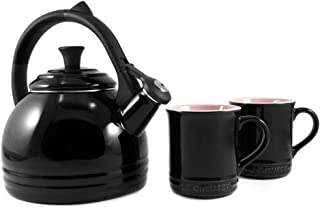 Le Creuset Enamel on Steel Kettle and Mug Set, Black