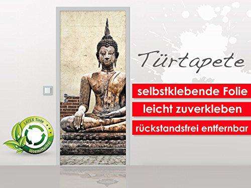 Türtapete Buddha Statue im Format 90x210cm - selbstklebende Premium Folie - leicht zu verkleben ohne Blasen von Trendwände