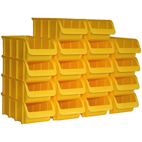 18 Profi-Sichtboxen PP Größe 2/L in Farbe Gelb 215/185 x 100 x 75 mm