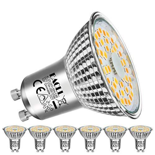 EACLL LED GU10 Dimmbar Warmweiss Leuchtmittel 5.8W 2000K-2700K 370 Lumen Birne Stufenloses Kontinuierliches Dimmen PAR16 Reflektorlampe. Flimmerfrei Strahler, 120 ° Warmweiß Licht Spotleuchten, 6 Pack