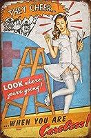 美しさレトロな金属装飾鉄絵画セクシーな看護師の看板8x12インチの金属ヴィンテージアールデコ