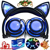 iGeeKid [Upgraded Version]Cat Ear Kids Headphones Rechargeable LED Light Up Foldable Over Ear Headphones Headsets for Girls Boys,Compatible for iPad,Kids Tablet,Kids Wearable Musical Device(New Black) (Electronics)